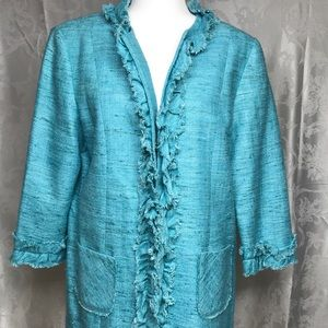 SARA CAMPBELL 100% Silk Lined Teal Blazer Size 14
